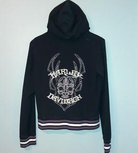 Harley Davidson Zip Up Embroidered Skull Hoodie